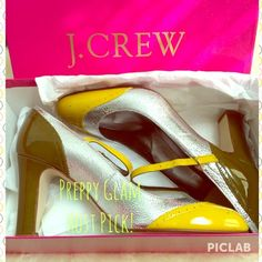 PM EDITOR PICK! J.Crew Penelope Mary Janes The most awesome & adorable shoe ever! A perfect way to kick-off spring! So cute that @pm_editor recently shared these babies!! Yellow patent and silver leather J.Crew Mary Jane's with olive patent leather detail on heels. Brand new in box. NEVER WORN. Paid $235. True to size, hence why I'm SADLY selling as they are too small. Heel height is 3.25 inches. No longer available through J.Crew. no trades, no PayPal!!! Recently a Host Pick for Preppy…