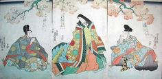 Ukiyo-e of 2 men and a woman dressed in heian robes