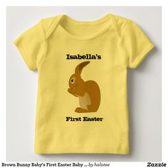 Brown #Bunny Baby's First #Easter Baby Lap #TShirt for babies design by @halotee .Check out to get up 15% off with code ZAZFLASHSAVE to day.