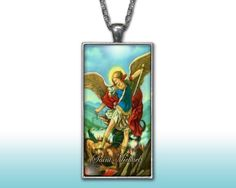 Saint Michael Archangel Pendant Charm Necklace Custom Silver Plated Jewelry Christian Religious
