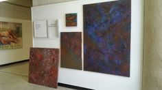 Some of my newest pieces hanging up at school. #art #artist #Detroitartist #CCS #abstraction #paintings