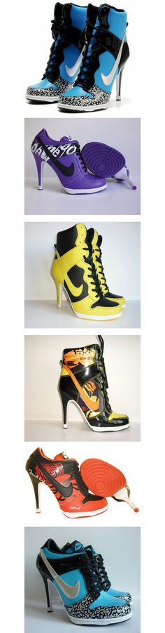Nike on heels ghetto mess. Not real Wedge Boots, Heeled Boots, Bootie Boots, Shoe Boots, Shoes Heels, Ballerinas, Cute Shoes, Me Too Shoes, Nike High Heels