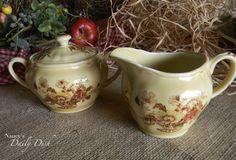 Vintage English Brown Transferware Dual Handled Sugar Bowl Lidded Jar Basket Flowers Polychrome
