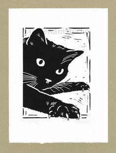 Black Cat Mousing - Original Hand Pulled Linocut Print