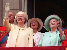 Queen Elizabeth II and the Queen Mother watch the Trooping of the Colours  from the balcony of Buckingham Palace on June 14, 1997, to mark the Queen's 71st birthday.