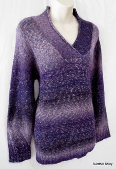 Coldwater Creek Purple Wool Blend Crossover V-neck Sweater Size 1X 18
