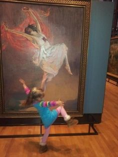A lIttle girl imitating Anna Pavlova, in this 1911 painting by John Lavery.  Anna Pavlova was a Russian ballerina of the late 19th and the early 20th centuries.