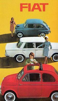 40 Super Ideas For Cars Poster Fiat 500 Vintage Italian Posters, Pub Vintage, Vintage Advertising Posters, Car Advertising, Vintage Advertisements, Poster Vintage, 1950s Posters, Advertising Campaign, Auto Poster