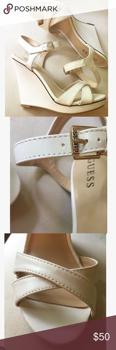 Guess wedges White wedges with trim detail, size 7.5. Worn only once so has appropriate wear.   #whitewedges #wedges #shoes #heels #summer #white #guess Shoes Wedges