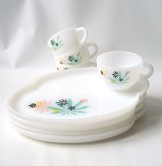 fire king plates cups | vintage fire king patio snack set leaves pastel black plate cup teacup ...