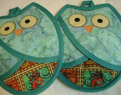 Teal and Aqua Owl Potholders, Southwest Kitchen,Oven Mitts, Hot Pads,Owl Lover Pocket Potholders, Pot Holders