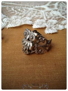 Owl Ring Filigree Ring VintageStyle Ring by nathalielynndesigns, $9.00