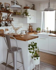white and light wood modern farmhouse contemporary kitchen decor houseplants wal. - white and light wood modern farmhouse contemporary kitchen decor houseplants wall shelves - Home Decor Kitchen, Kitchen Interior, Home Kitchens, Kitchen Dining, Kitchen Ideas, Boho Kitchen, Earthy Kitchen, Small Apartment Kitchen, Natural Kitchen