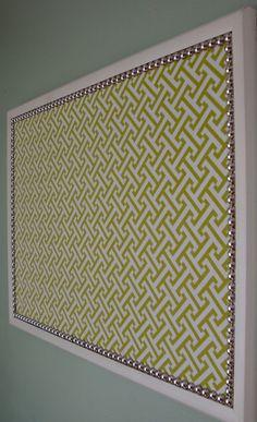 easy fabric covered bulletin board - i like the idea of the nailhead