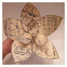 DIY... Paper Magnolias from vintage sheet music tutorial