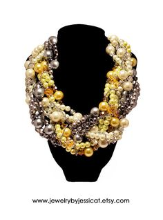 GRAND TWISTED Statement Necklace Gray Yellow by JewelryByJessicaT, $175.00