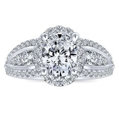 Gabriel & Co. -  14k White Gold Diamond Halo Engagement Ring