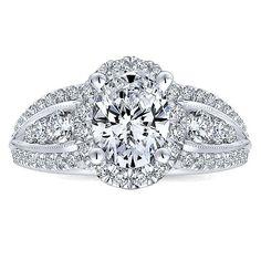 Gabriel & Co. -  14k White Gold Diamond Halo Engagement Ring