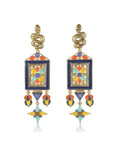 Brushed Gold-tone w Multicolor Beads Long Clip-On Earrings crafted in brass with resin stones, have an ethnic flair that adds a touch of world traveler to your off duty or night ensemble. Featuring iconic serpent on clip-on post with multicolored plaque as elegant center. Made in Italy.