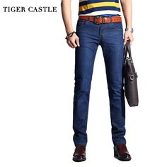 TIGER CASTLE Summer Men's Classic Jeans Light Stretch Denim Jeans Men Thin Business Male Jeans Elastic Designer Jeans Men