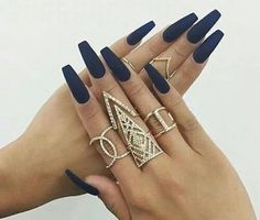 Navy Blue Matte/Glossy Fake Press On Nails - Stiletto, Oval, Square, Coffin/Ballerina