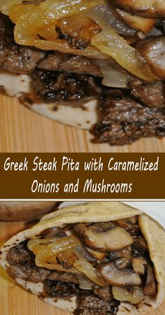 Pita Recipes, Steak Recipes, Side Dish Recipes, Cooking Recipes, Sandwich Recipes, Red Beans And Rice Recipe Crockpot, Pork And Beef Recipe, Caramelized Onions And Mushrooms, Steak And Mushrooms