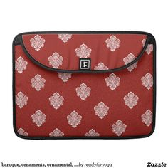 baroque, ornaments, ornamental, red, cherry, white sleeve for MacBook pro