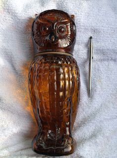Vintage Avon Big Owl Moomwind Cologne Brown Glass Bottle Decanter