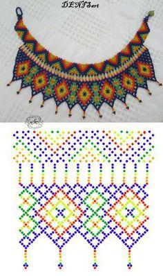 Diy Necklace Patterns, Beaded Jewelry Patterns, Beading Patterns Free, Bead Loom Patterns, Beaded Crafts, Beaded Collar, Bead Jewellery, Handmade Beads, Bead Crochet