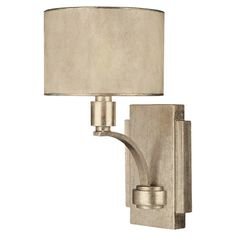 Add a touch of glamour to your powder room or master bath with this elegant wall sconce, showcasing a winter gold finish and drum shade.