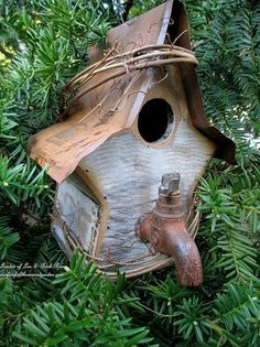 april blooms, flowers, gardening, succulents, New birdhouse with faucet handle