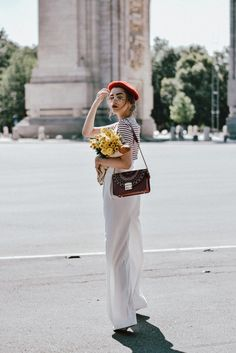 White wide leg pants zara, mango stripe t-shirt, urban outfitters striped tee, asos red beret, forever21 white lace up corset, furla red bag, furla ruby red lace trim metropolis shoulder bag, furla metropolis in red, ray ban aviator clear lens glasses, gucci ace heart embroidered sneakers, andreea birsan, couturezilla, cute summer outfit inspiration, how to look Parisian chic, European summer street style inspiration for women 2017, pinterest chic outfit ideas for woman, summer outfit ideas…
