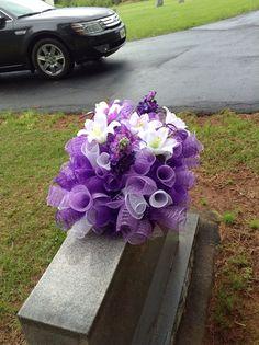 Headstone saddle, Grave decoration, Gravestone saddle, Deco mesh flower arrangement, Tombstone arrangement on Etsy, $60.00