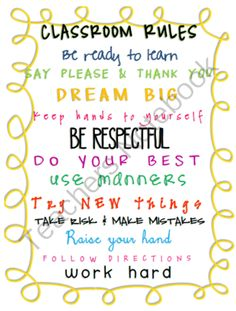 Freebie: Classroom Rules Poster from Swift In Second on TeachersNotebook.com (1 page)
