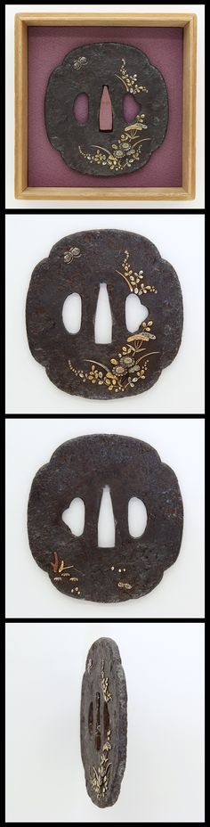 Edo Flowers and butterfly are engraved on Mokko shape iron Tusba with gold, silver and copper color.
