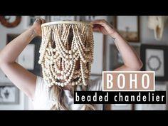 Bathroom Chandelier, Wood Bead Chandelier, Boho Bathroom, Vintage Chandelier, Chandeliers, Chandelier Makeover, Boho Diy, Dyi, Shabby Chic