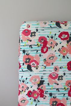 Floral - Fitted Crib Sheet - aqua, coral, pink, navy, and lime