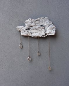 Driftwood Cloud with Vintage Crystal Raindrops  by StarHomeStudio