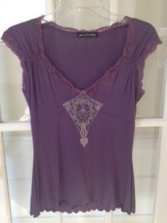Ann Ferriday Beautiful Plum Color Blouse with Beading/Lace **O/S** | eBay