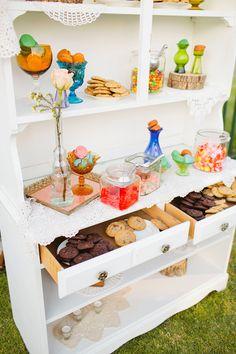 Colorful sweets display! On #SMP:  http://www.StyleMePretty.com/2014/03/27/whimsical-woodland-garden-wedding/ Mason And Megan Photography - masonandmegan.com