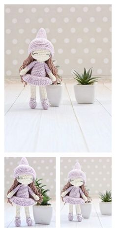 Amigurumi Pink Little Layd Free Pattern – Amigurumi Free Patterns And Tutorials Amigurumi Toys, Amigurumi Patterns, Crochet Dolls, Crochet Hats, 4 Ply Yarn, Hair Cover, Mohair Yarn, Hello Dear, Patterns