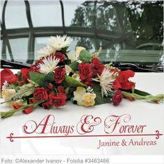 Autoaufkleber Hochzeit Ornament Always & Forever mit Namen
