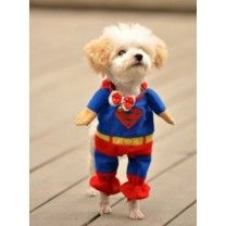 DELICOL Cute Superman Pet Costume Superhero Dog Cat (M)