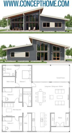 Home Plan House Plans Floor Plans Architecture Adhouseplans Homeplans Floorplans Home Plan Hauspläne Grundrisse Architektur Adhouseplans Homeplans Grundrisse - Besondere Tag Ideen Sims House Plans, Open House Plans, House Plans One Story, Dream House Plans, Modern House Floor Plans, Modern Home Plans, One Story Houses, Floor Plans 2 Story, Square House Plans