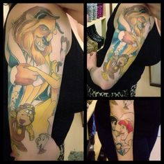 Beauty and The Beast and Little Mermaid tattoos, done by Simone at Progression Tattoo in Adelaide (Australia), still in progress! :)