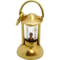 Vintage 14K Gold 3D Lantern Charm with Enameled Wick Flame 1930s..