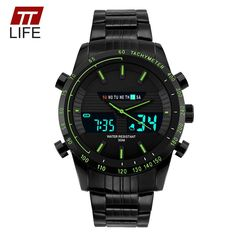 Mens Sport Luxury Full Steel LED 50m Waterproof Rubber Band Acrylic Dial Digital Military Wrist Watch