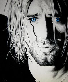 Kurt Cobain - Colored pencil and charcoal drawing on paper - 11x14