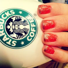 Coral Nails with Gold glitter tips and extra sparkles. <3 Starbucks coffee.