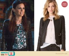 Zoe's quilted leather jacket on Hart of Dixie.  Outfit Details: http://wornontv.net/32659/ #HartofDixie